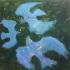 Blauwe vogels - olieverf, 60 x 60 cm