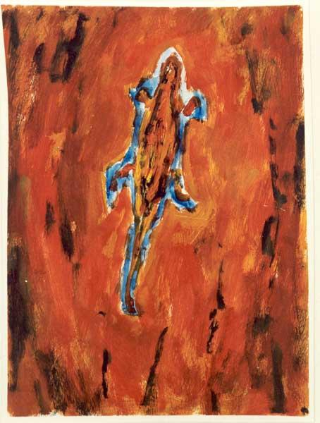 Hagedis - acryl, 50 x 37 cm