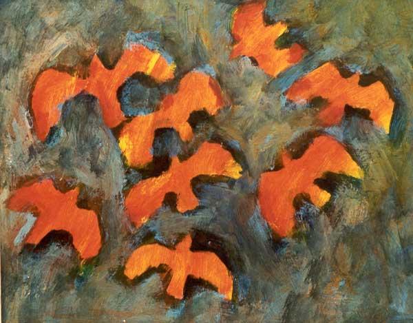 Rode vogels, acryl 37 x 50 cm