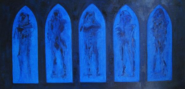 5 Figuren, olieverf 50 x 100 cm