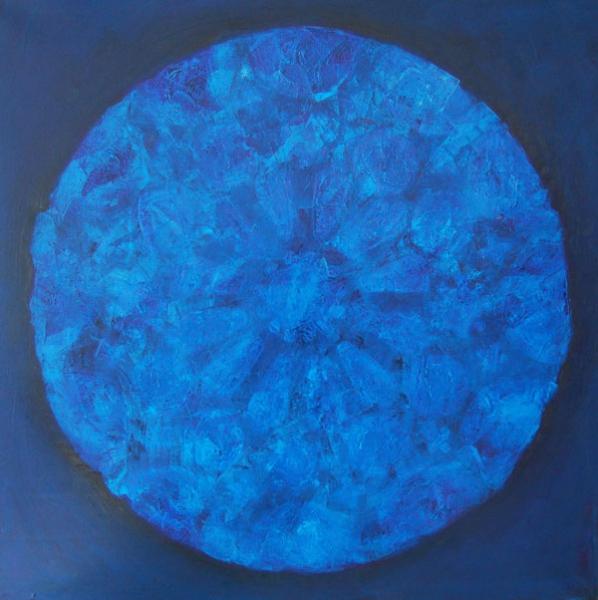 Blauw rond, olieverf 100 x 100 cm