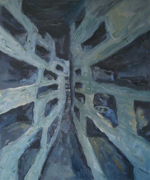 Catacomben, olieverf - 60 x 50 cm