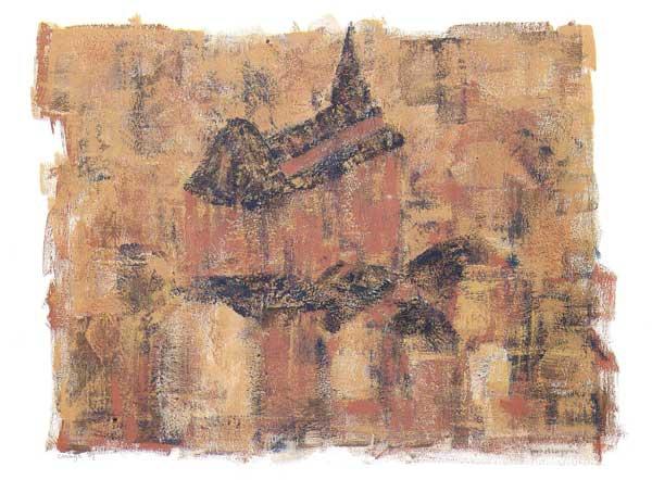 Coingt, Noord-Frankrijk, acryl 70 x 100 cm