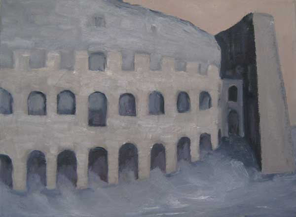 Colosseum, olieverf 35 x 45 cm