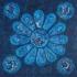Vitrail blauw rond, olieverf 60 x 60 cm