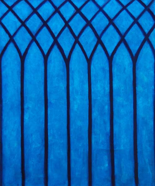 Vitrail blauw, olieverf 60 x 50 cm (gotiek venster Naarden)