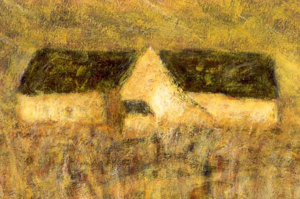 Huis in de Bourgogne, acryl 70x37cm