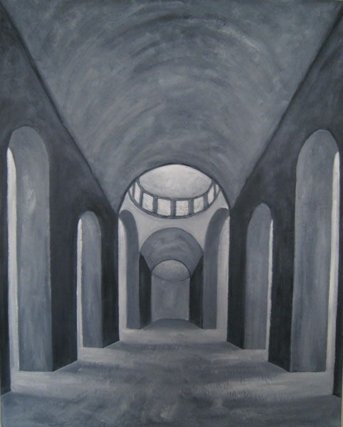 Interieur kerk, olieverf 100 x 80 cm