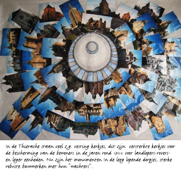 Kerkjes Thierache, Noord Frankrijk - foto collage - 100 x 195 cm