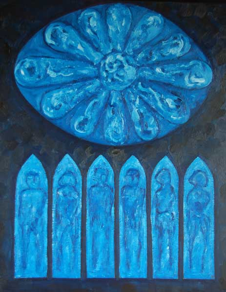 Vitrail roosvenster, olieverf 100 x 80 cm