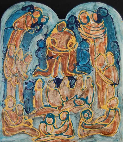 Sixtijnse luik, lakverf 60 x 50 cm