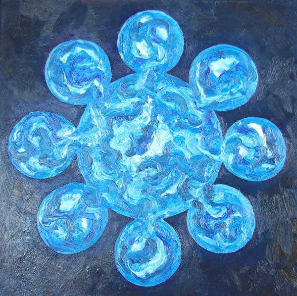 Vitrail blauw, olieverf 60 x 60 cm