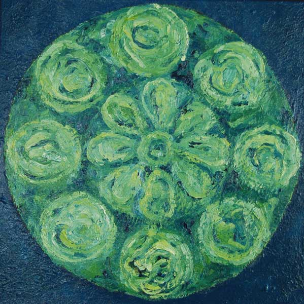 Vitrail groen-rond, olieverf 60 x 60 cm
