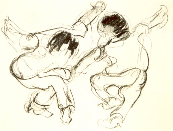 Dancing 1 - houtskool, 20 x 25 cm
