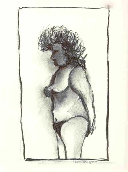 Vrouw 72 - houtskool, 25 x 20 cm