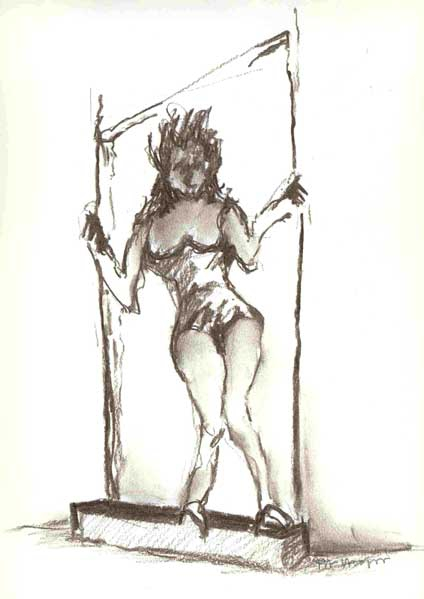 Vrouw 76 - houtskool, 25 x 20 cm